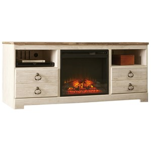Two-Tone Large TV Stand with Fireplace Insert