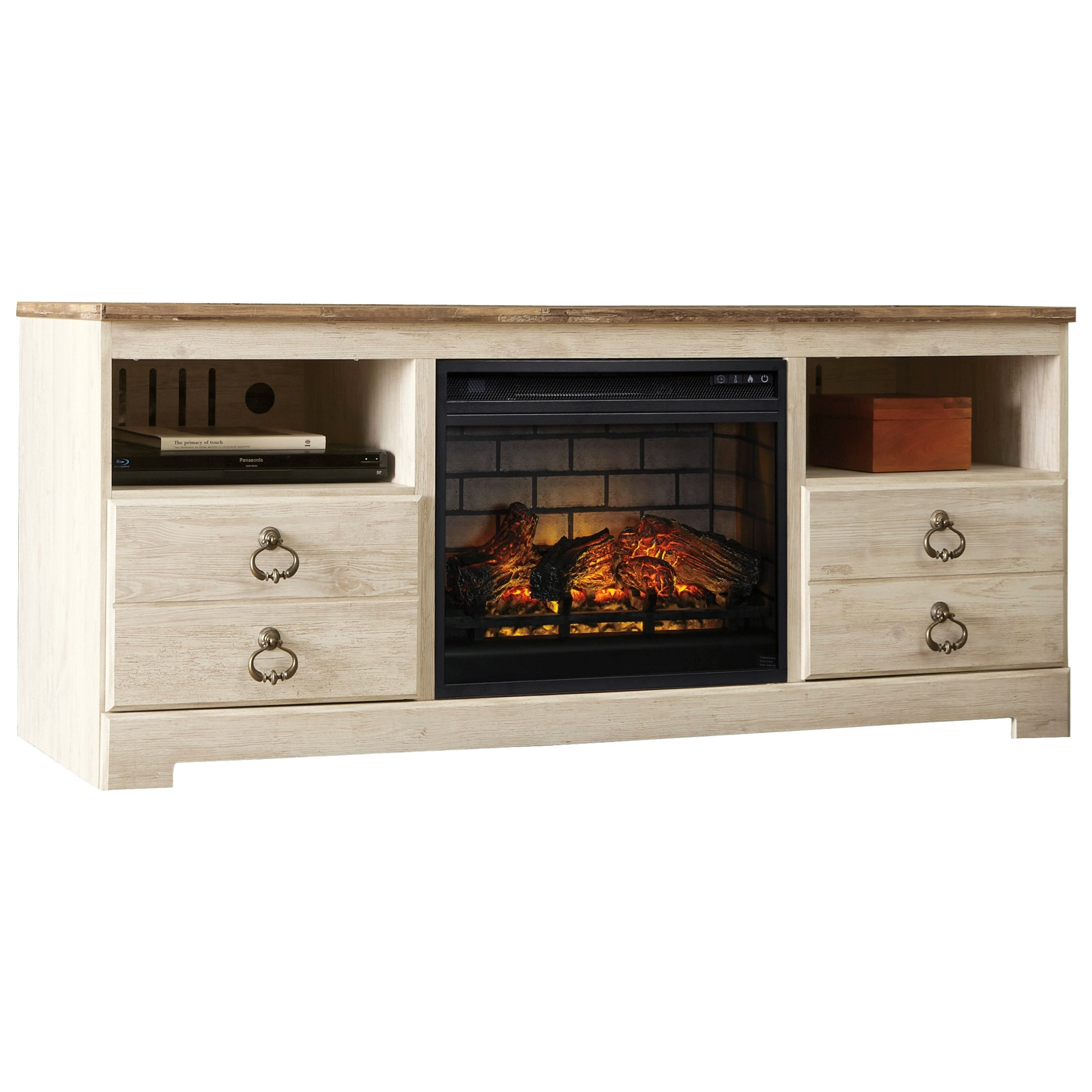 Willowton Large TV Stand with Fireplace Insert by Signature Design by Ashley at Northeast Factory Direct