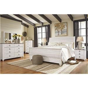 King Sleigh Bed, Dresser, Mirror, 2 Nightstands and Chest Package