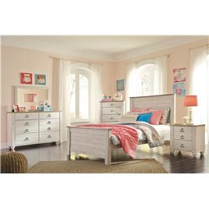 Twin Panel Bed Headboard, Dresser, Mirror and Nightstand Package