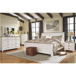 Queen/Full Panel Bed Headboard, Dresser, Mirror and Nightstand Package