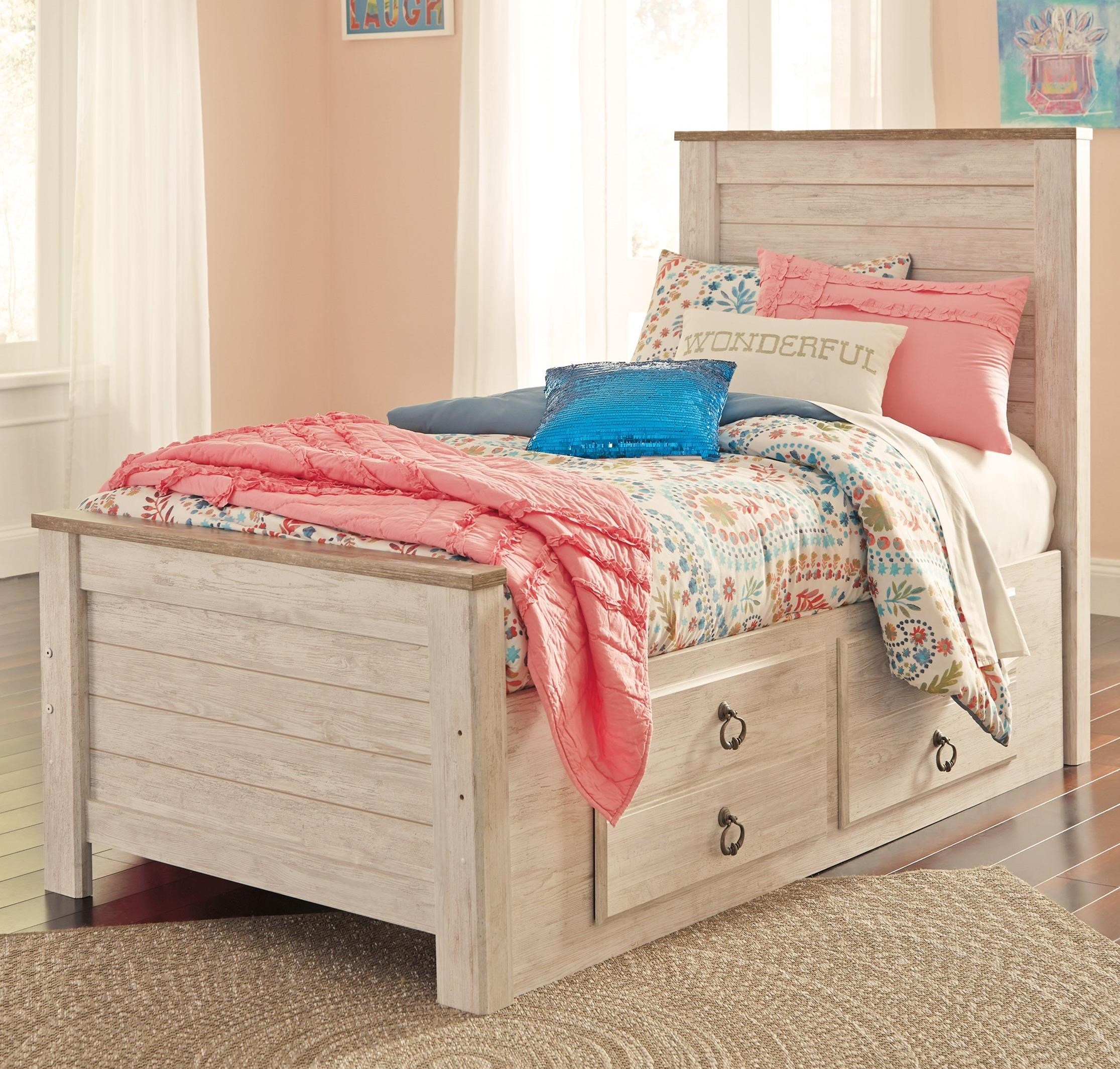 Willowton Twin Bed with Underbed Storage Drawers by Ashley (Signature Design) at Johnny Janosik