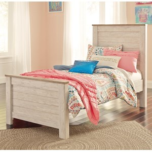 Two-Tone Twin Panel Bed in Washed White Finish with Rustic Top Trim