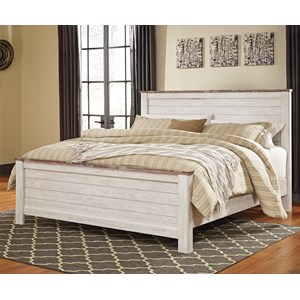 Two-Tone King Panel Bed with Plank Style Headboard and Footboard