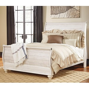 Queen Sleigh Bed in Washed Finish