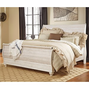 King Sleigh Bed in Washed Rustic Finish