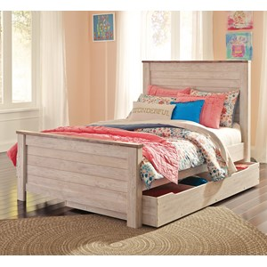 Signature Design by Ashley Willowton Full Panel Bed with Under Bed Storage