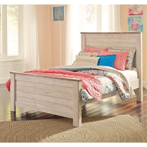 Two-Tone Full Panel Bed in Washed White Finish with Rustic Top Trim