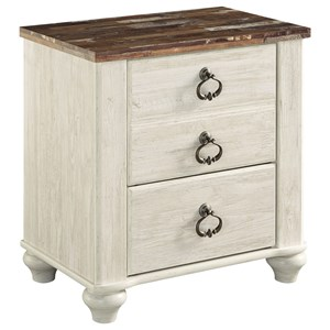 Signature Design by Ashley Willowton Two Drawer Night Stand