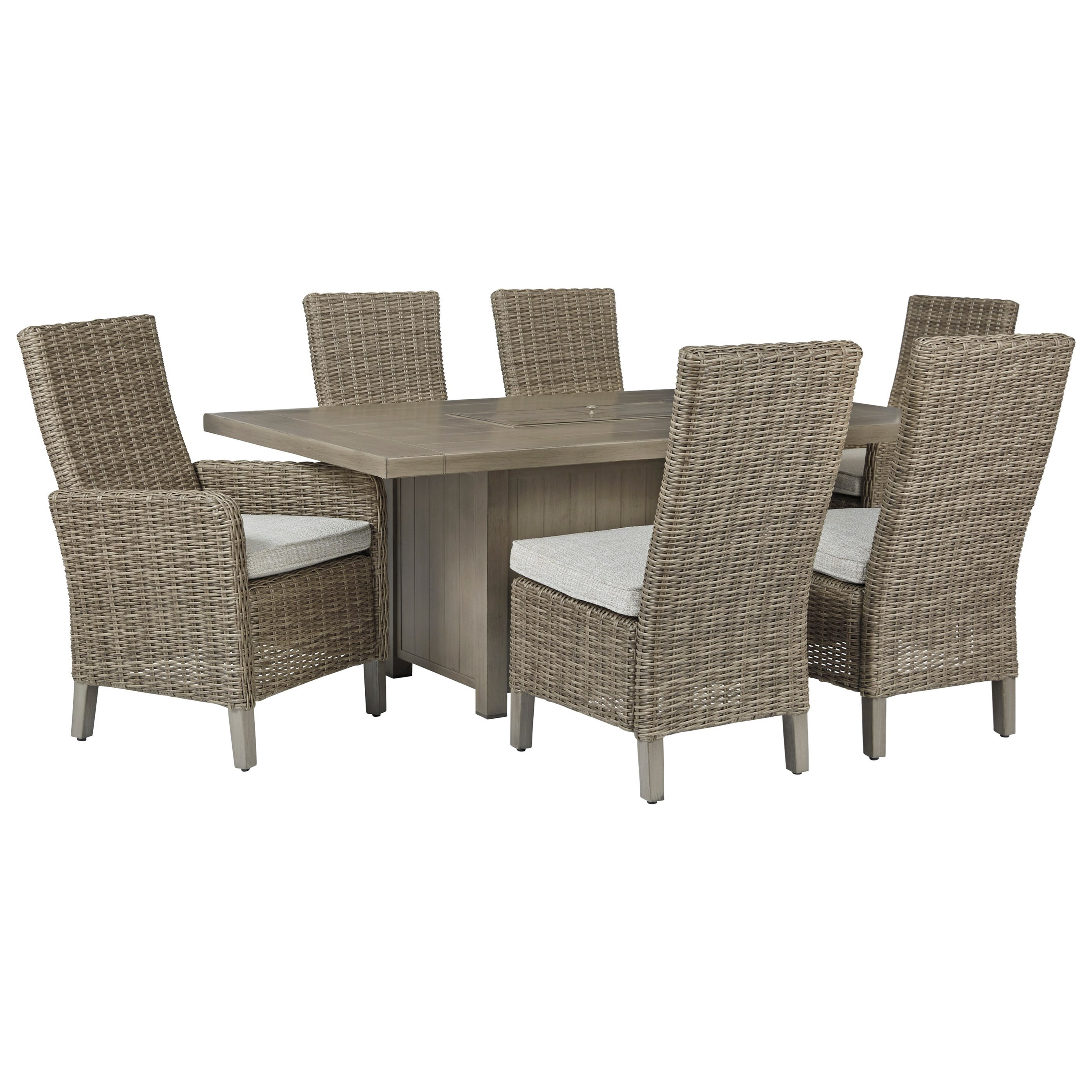 Windon Barn 7-Piece Rectangular Fire Pit Table Set by Signature Design by Ashley at Furniture Fair - North Carolina