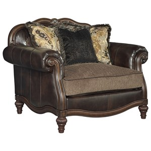 Traditional Fabric/Bonded Leather Match Chair and a Half