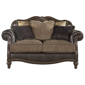 Traditional Fabric/Bonded Leather Match Loveseat