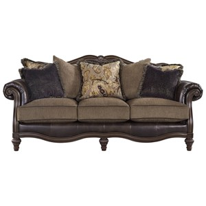 Traditional Fabric/Bonded Leather Match Sofa