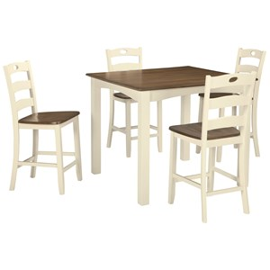 Two-Tone Finish 5-Piece Square Counter Table Set