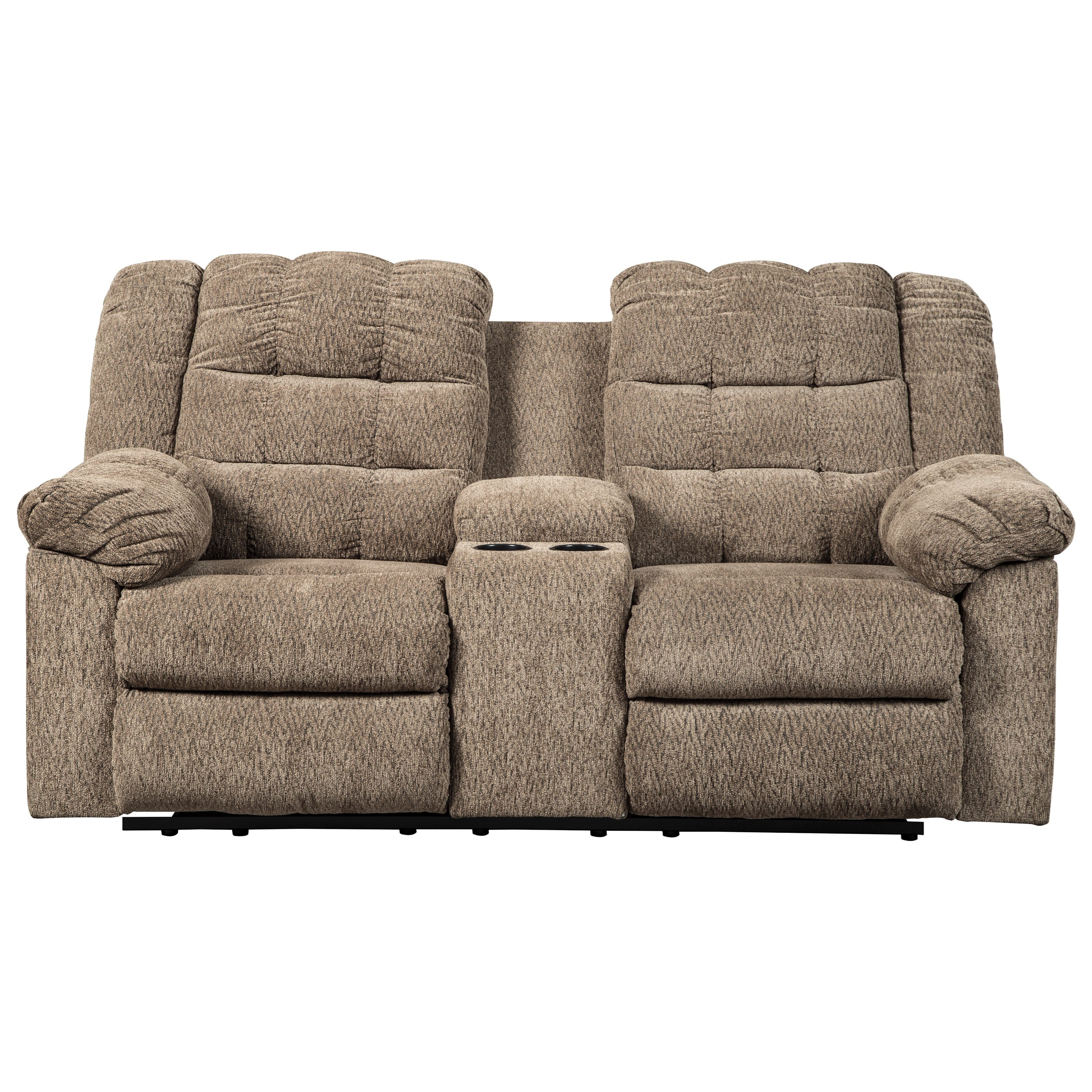 Workhorse Double Reclining Loveseat w/ Console by Signature Design by Ashley at Northeast Factory Direct