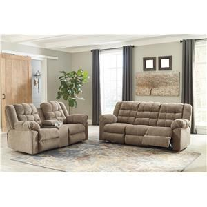 Cocoa Reclining Sofa and Reclining Loveseat with Storage Console Set