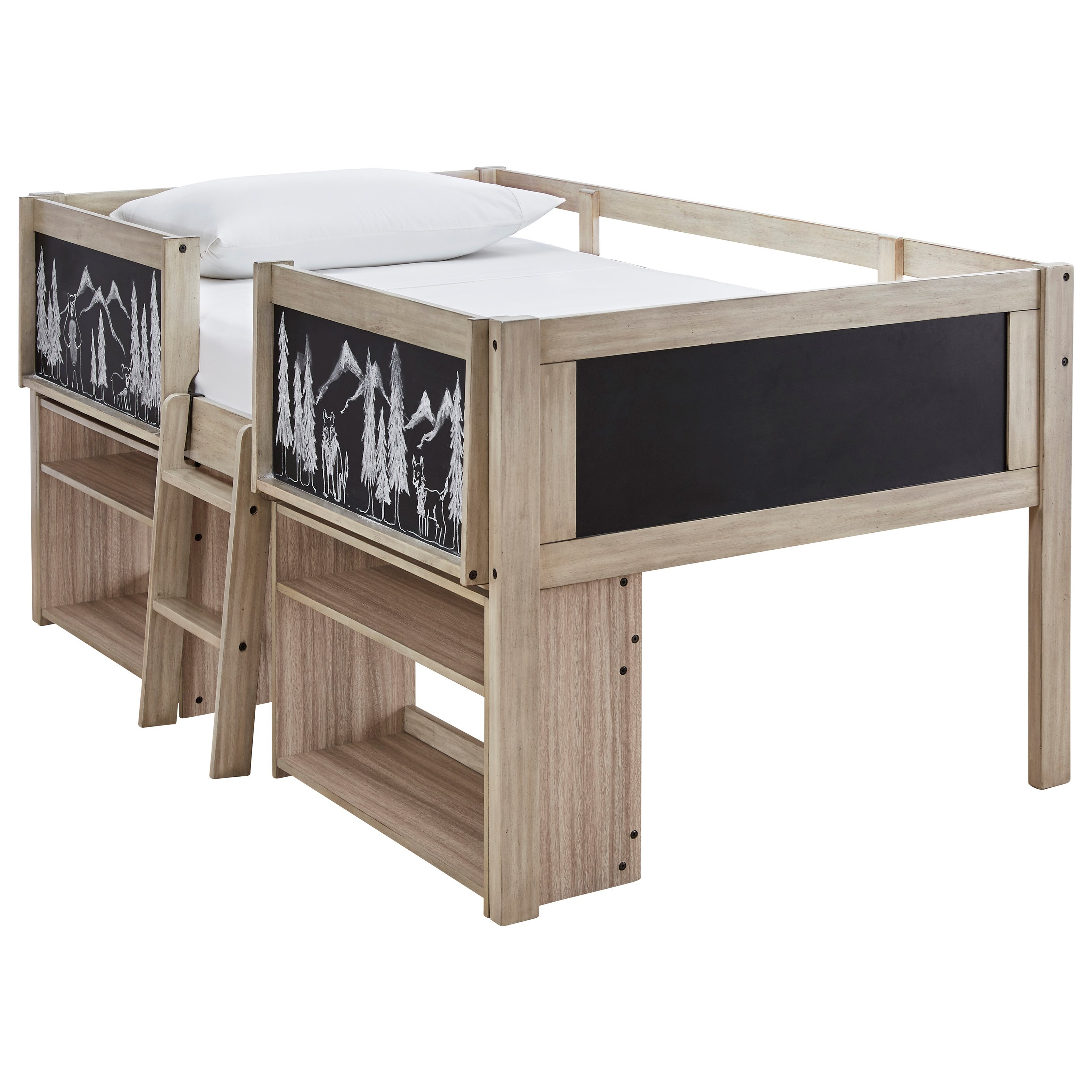 Wrenalyn Twin Loft Bed Frame with Under Bed Bookcases by Ashley (Signature Design) at Johnny Janosik