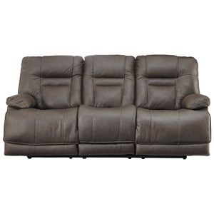 Power Reclining Sofa with Adjustable Headrest and USB Port
