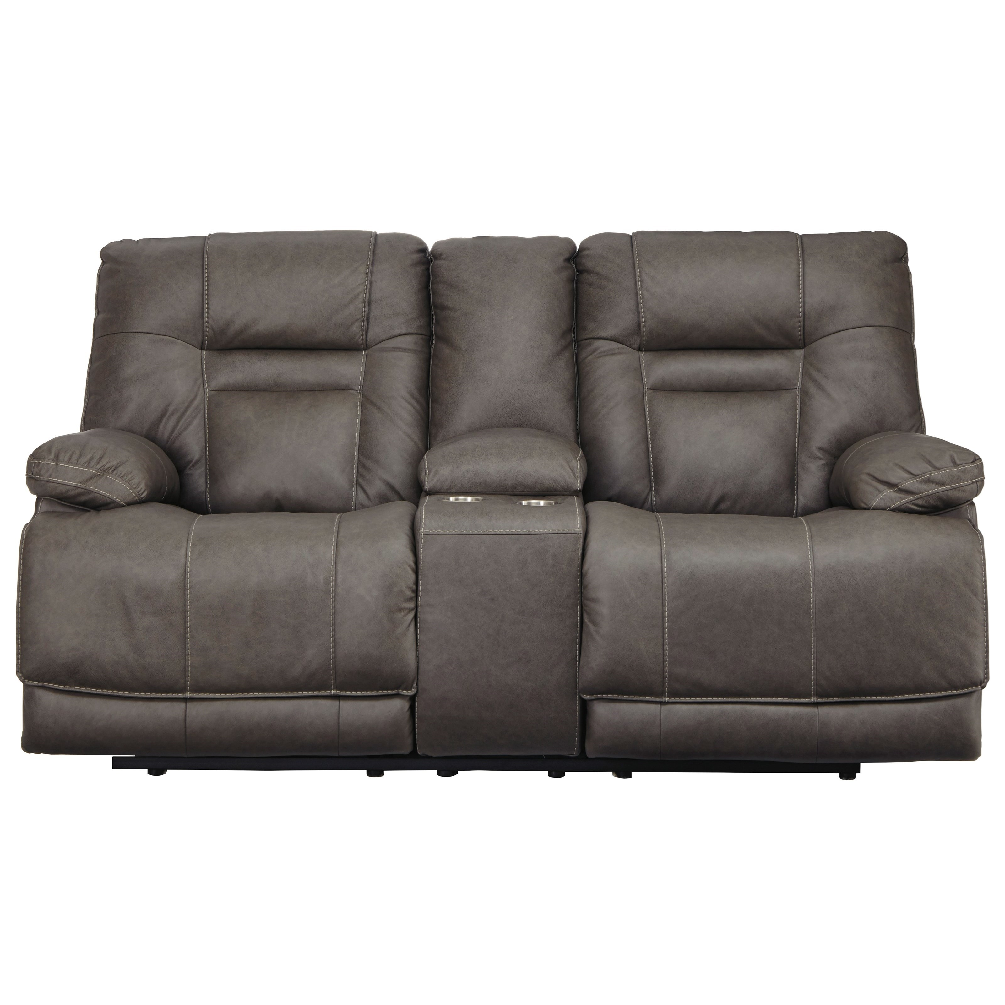 Watson TRIPLE PWR Reclining Leather Loveseat by Signature at Walker's Furniture