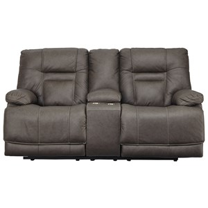 Power Reclining Loveseat with Storage Console and USB Ports