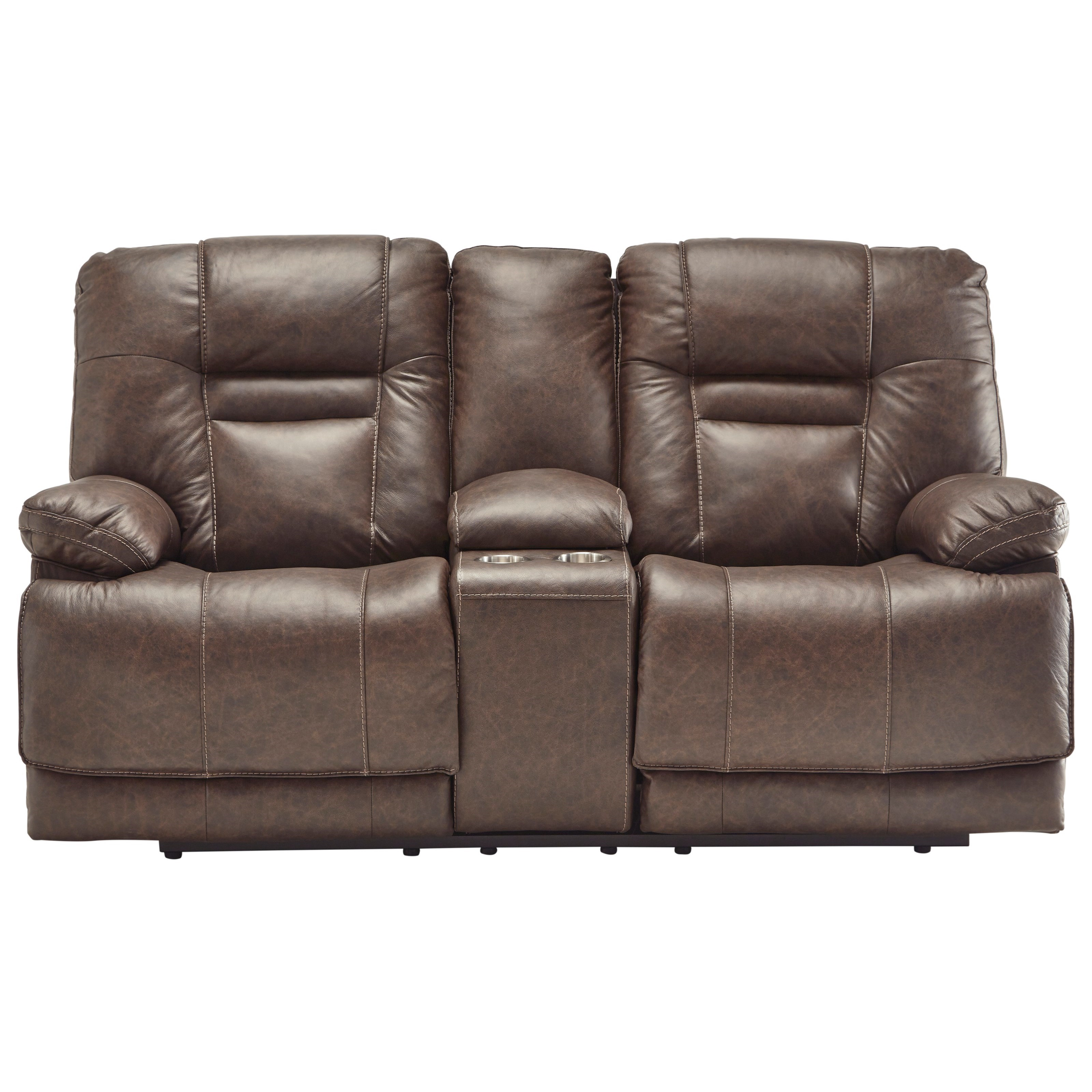 Wurstrow TRIPLE PWR Reclining Leather Loveseat by Signature at Walker's Furniture