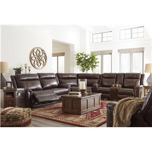 Coffee 4 Power Recliner Sectional and Power Recliner Set