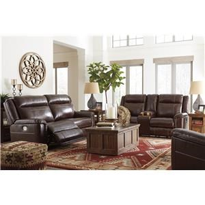 Coffee Power Recliner Loveseat and Power Recliner Set