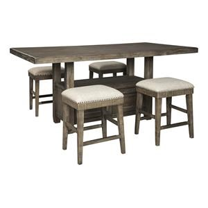 5 PC Counter Height Dining Room Table, 2 UPH Barstools and 4 UPH Stools Set