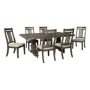 8 PC RECT EXT Dining Room Table, 6 Bent Slat Back Side Chairs and Bench Set