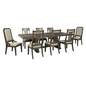 11 PC RECT EXT Table, 8 UPH Bent Slat Back Side Chairs and 2 UPH w/ Nail Head Trim Side Chairs Set