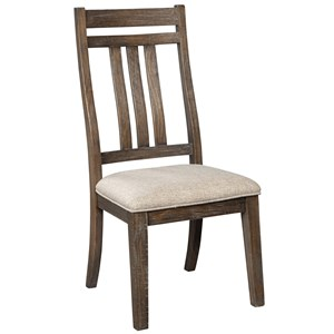 Farmhouse Dining Upholstered Side Chair with Bent Slat Back