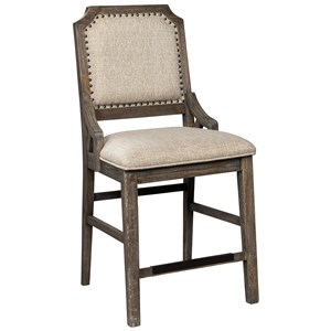 Farmhouse Upholstered Barstool with Beige Fabric