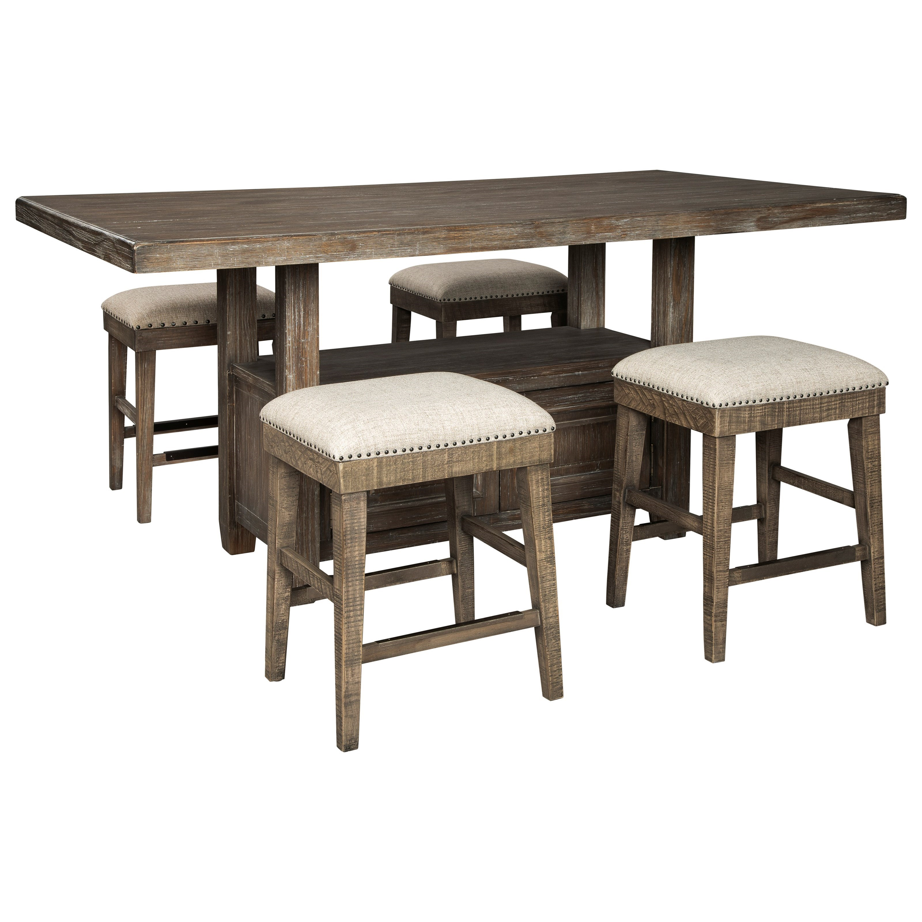 Wyndahl 5-Piece Rect. Counter Table w/ Storage Set by Ashley (Signature Design) at Johnny Janosik