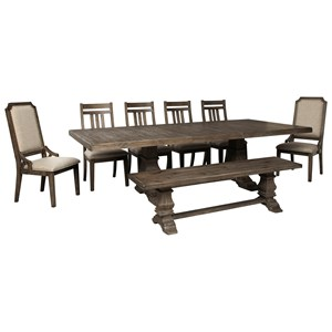 8-Piece Dining Table Set with Bench
