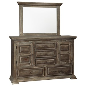 Rustic Lodge-Style Dresser and Mirror Set