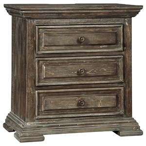 Rustic Lodge-Style Three Drawer Nightstand with Power Strip