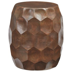 Copper Finish Accent Table/Stool with Honeycomb Design