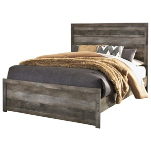 Queen Rustic Plank Effect Panel Bed