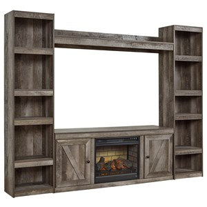 Large TV Stand w/ Fireplace Insert and Piers