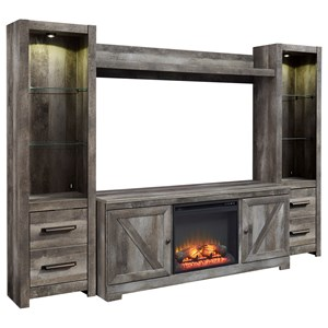 Wall Unit with Fireplace & 2 Piers in Rustic Gray Finish