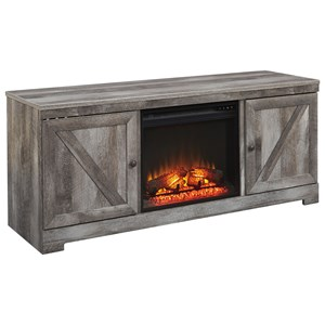 Large TV Stand in Rustic Gray Finish with Fireplace