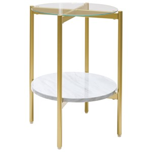 Gold Finish Round End Table with Glass Top and Faux Marble Shelf