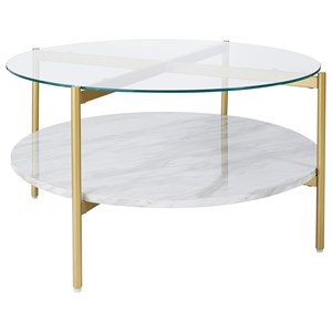 Gold Finish Round Cocktail Table with Glass Top and Faux Marble Shelf