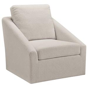 Swivel Accent Chair in Cream Sherpa Fabric