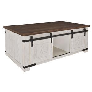 Rectangular Coffee Table with Sliding Barn Doors