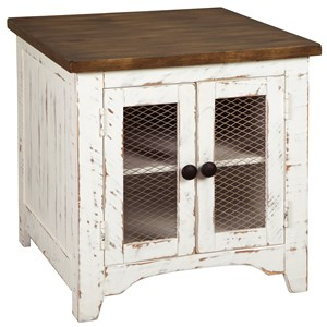 Farmhouse Rectangular End Table with Two-Tone Finish