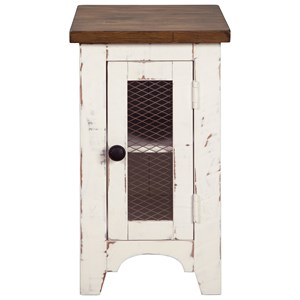Farmhouse Chair Side End Table with Two-Tone Finish