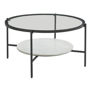 Round Cocktail Table with Glass Top and Round End Table with Glass Top Set