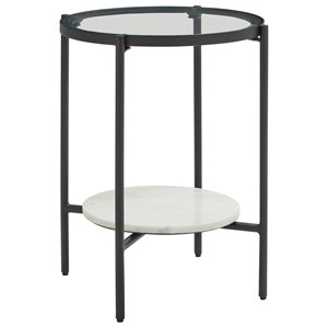 Black Metal Round End Table with Glass Top and White Marble Shelf