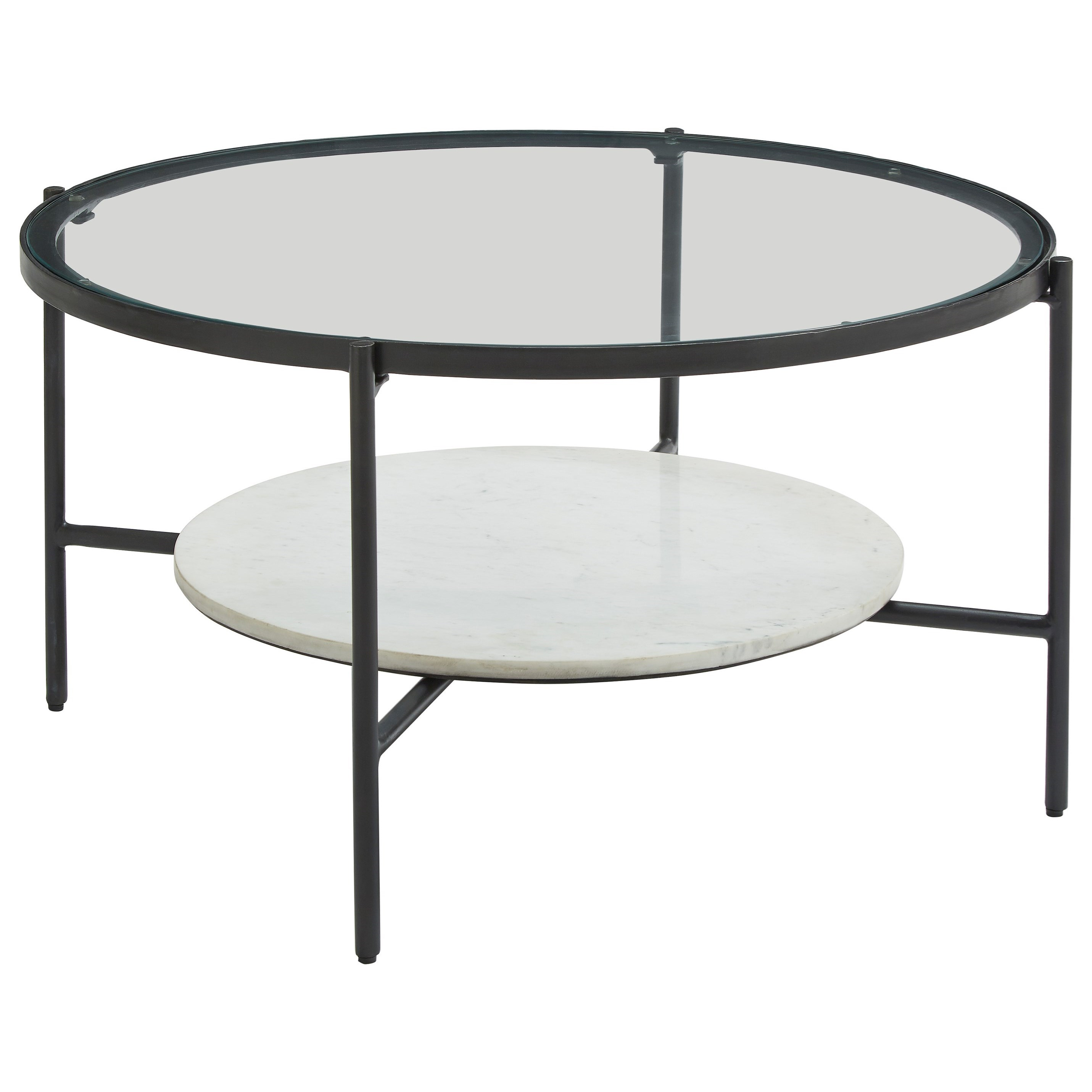 Zia Round Cocktail Table by Signature at Walker's Furniture